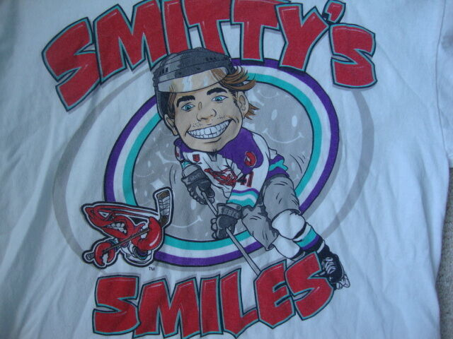 Shreveport Mudbugs Brett Smith Smitty's Smiles Caricature Hockey T Shirt YOUTH L