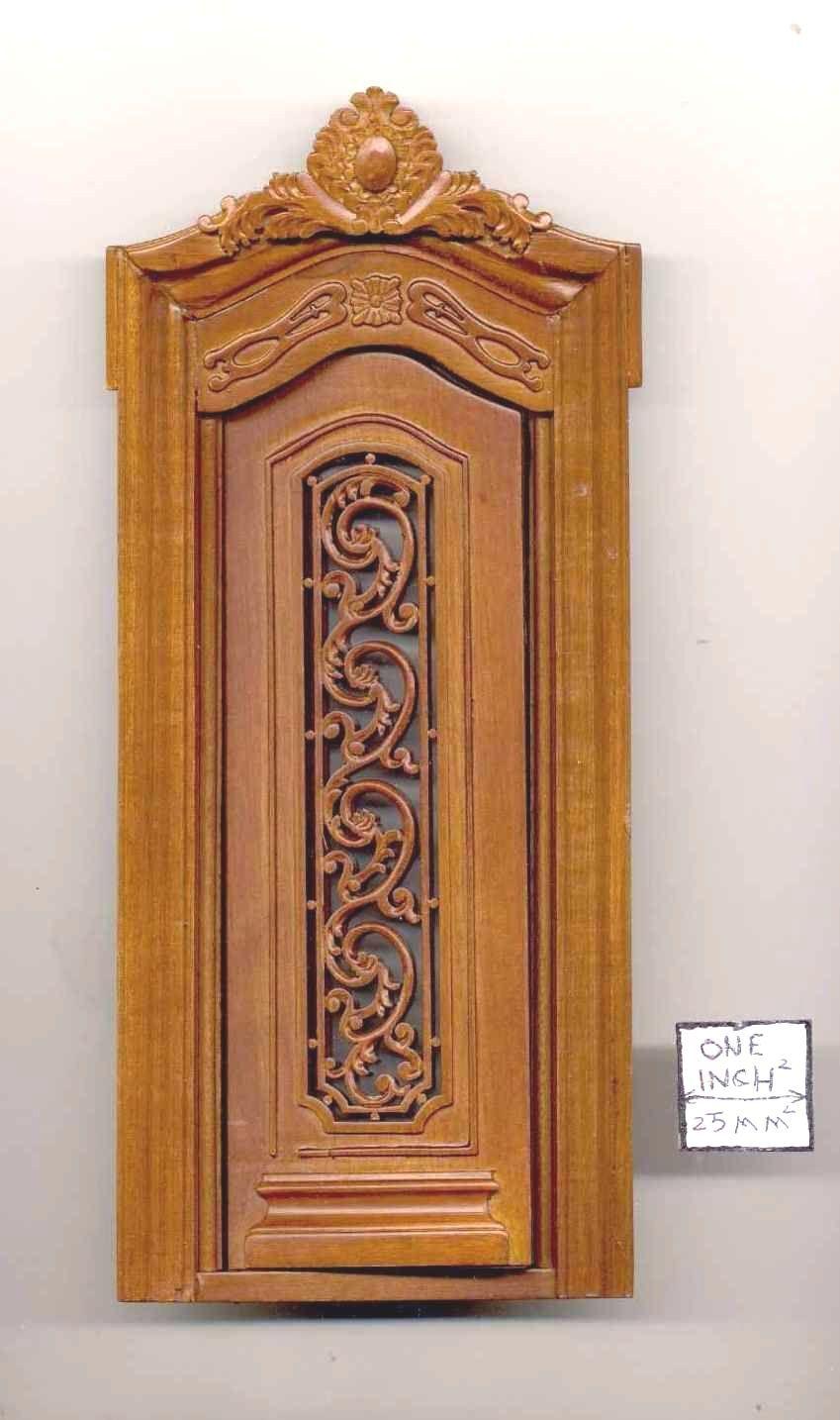 Porta di Bespaq 818NWN Intagliati Esterno - Legno Casa Delle Bambole Miniatura