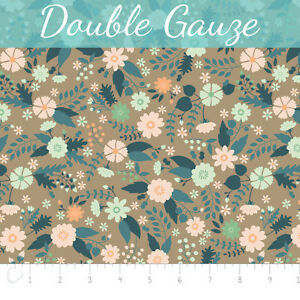 Flourish-Floral-Taupe-Double-Gauze-Camelot-100-Cotton-fabric-by-the-yard