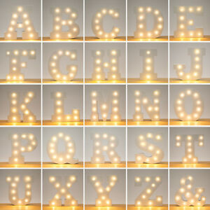 Image is loading Alphabet-26-Letters-Lights-LED-Light-Up-White-  sc 1 st  eBay & Alphabet 26 Letters Lights LED Light Up White Warm Marquee Standing ...