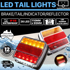 2X-Submersible-Waterproof-26-LED-Stop-Tail-Lights-Kit-Boat-Truck-Trailer-Lamp-AU