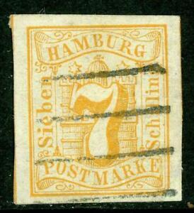 Germany-1859-Hamburg-7-Shilling-Orange-SG-8-VFU-G148