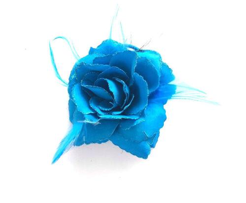 Blue Rose Glitter Flower Hair Bobble//Clip Fascinator Hair Flowers