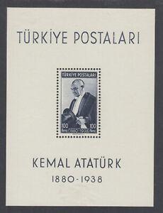 Turkey-Sc-841-MOG-1940-100k-blue-black-Ataturk-Souvenir-Sheet-hinge-remnants