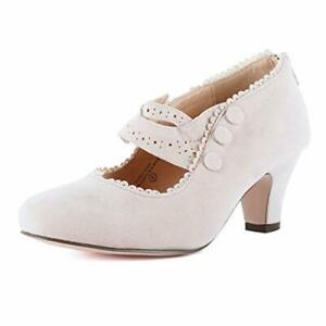 Guilty Shoes Womens Mary Jane Oxford Kitten Heel Pump Wing Tip Comfortab.