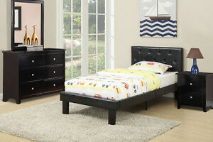 Black Twin size Bed Tufted Faux Leather Upholstered Platform Headboard FtBoard
