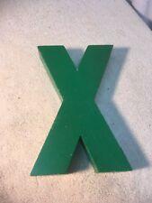 Letter X Big Vtg Wood Block Type Italic Font 8in X 5in X 15in Green