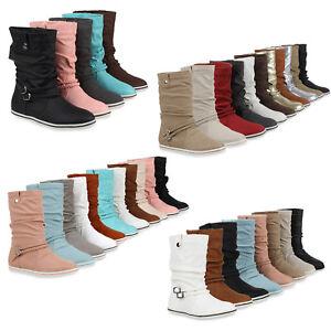 Details zu Bequeme Damen Stiefel Flache Schlupfstiefel Boots 890467 Schuhe