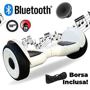 """HOVERBOARD BALANCE BOARD 10"""" 250W CON SPEAKER FINO A 15KM/H Bianco HP108-W"""