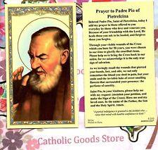 St Pio with Prayer to Padre Pio of Pietrelcina - Paperstock Holy Card