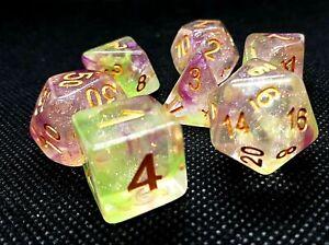 RPG Würfel Set 7-teilig Tabletop DnD Waterlilly dice4friends w4-w20 Rollenspiel