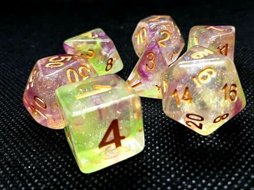 Dice 4 Friends RPG cubo set 7 poly dnd confetti Waterlilly Borealis HD dice