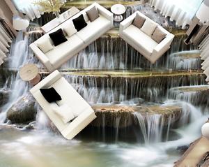 3D Waterfall stone 012 Floor WallPaper Murals Wall Print Decal 5D AJ WALLPAPER