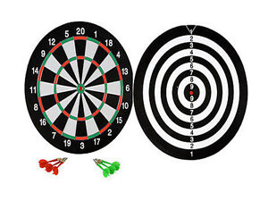 """Professional Dartboard 14/"""" Double Sided Indoor Outdoor Game with 6 Darts DD UK"""