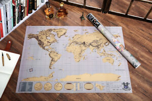 1pc travel edition scratch off world map poster personalized journal image is loading 1pc travel edition scratch off world map poster gumiabroncs Images