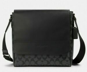 New-Coach-573-Houston-Map-bag-men-039-s-Coated-Canvas-amp-Leather-Charcoal-Black