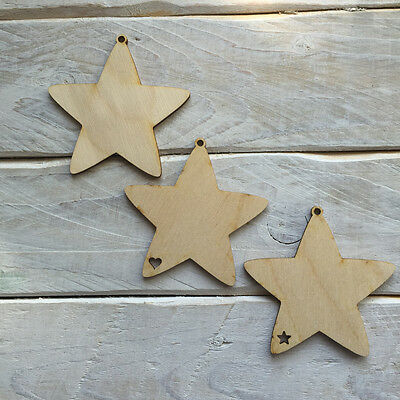 10 Pack Plywood Wooden Christmas Tree Decorations DIY Blank BAUBLE SHAPES