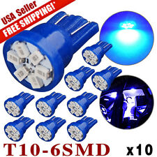 10X Ultra Blue T10 Wedge 6SMD Interior Map License Plate LED Lights 198 164 2825