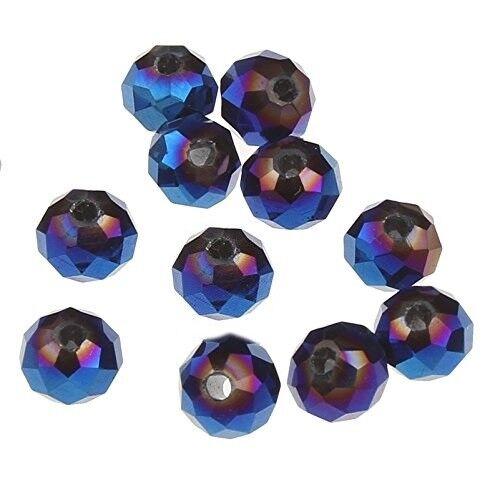 15 Irisierend Blau 10mm Rondell Tschechische Kristall Perlen Glas X249