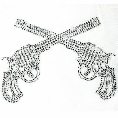 Rhinestone Iron On Transfer Hot fix Motif Fashion Design Crystal For Pistol