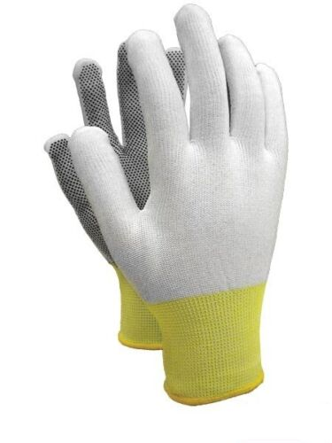 12 PAIRS OF NYLON PCV MICRO SPOTTED  WORK GLOVES SAFETY GRIP