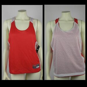 Nike-Womens-Size-L-XL-Mesh-Jersey-Reversible-Tank-Top-Athletic-Red-White-MM20