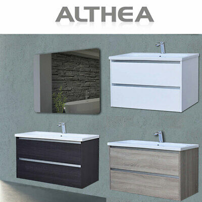 Althea Ceramica Arredo Bagno.Mobile Bagno Sospeso 100 Legno Bianco Quercia Con Lavabo Specchio Led Althea Roy Ebay
