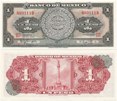 PESO AZTECA CALENDAR 1969 CONSECUTIVE NOTES UNCIRCULATED 5 MEXICO UN