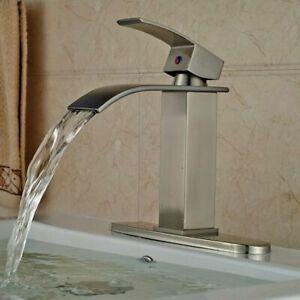 Brushed-Nickel-Single-Handle-Bathroom-Sink-Faucet-Basin-Countertop-Tap-W-Cover