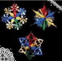 3pcs Christmas Foil Ceiling Hanging Decoration Xmas Hangers 40cm Multi Colour