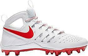 Nike-Men-039-s-Huarache-V-Lax-White-Lt-Crimson-Mid-Cut-Molded-Cleats