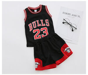 2a629ce6f75fb4 UK Kids Baby Boys Girls  23 Michael Jordan Bulls Basketball Jerseys Short  Suits