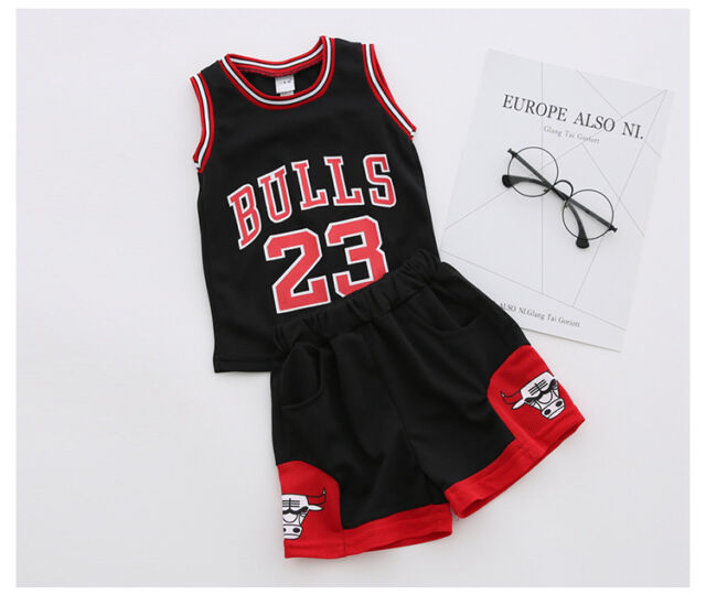 f41076685 UK Kids Baby Girls Boys 23 Michael Jordan Bulls Basketball Jerseys ...