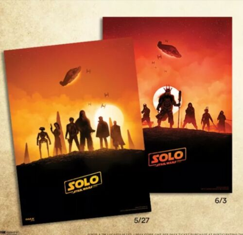 Exclusive Solo A Star Wars Story 2-Poster AMC IMAX Sundays Complete Set On-Hand