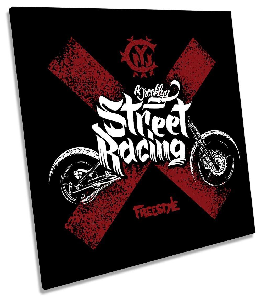 Straße Racing Motorcyle Bild CANVAS Wand Kunst Square Drucken