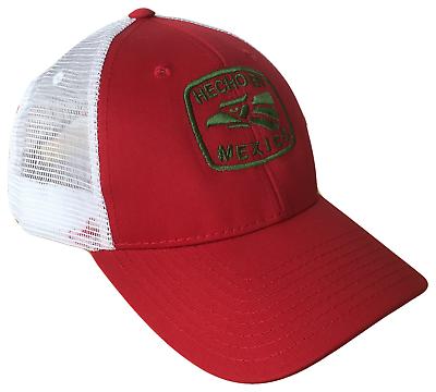 57cbd327c1f Buy Hecho En Mexico Red Green White Mid Profile Mesh Golf Trucker ...