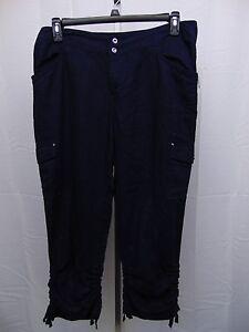49783f7453b INC Plus Size Ruched Linen Cargo Pants 14W Navy Blue  977 ...