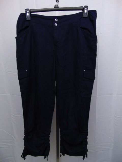54c19772dfc34 Inc International Concepts Navy Plus Size Ruched Linen Cargo Pants ...