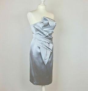 Karen-Millen-Dress-UK-Size-10-Satin-Pencil-Strapless-Origami-Silver-Prom