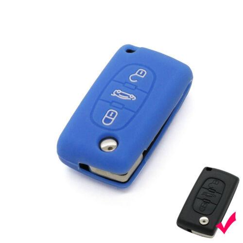 Blue Silicone key cover case Cover for Citroen C1 C2 C3 C4 C5 C6 C8 Car Styling