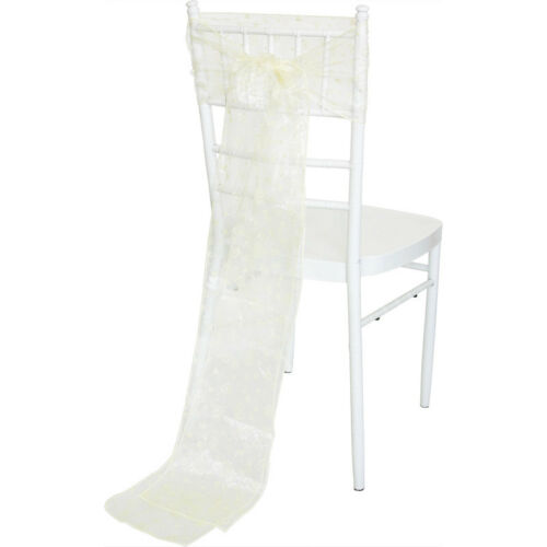 Heart Ivory 1//10//50//100 Flocked Organza Sashes Chair Cover Bow Wedding Party
