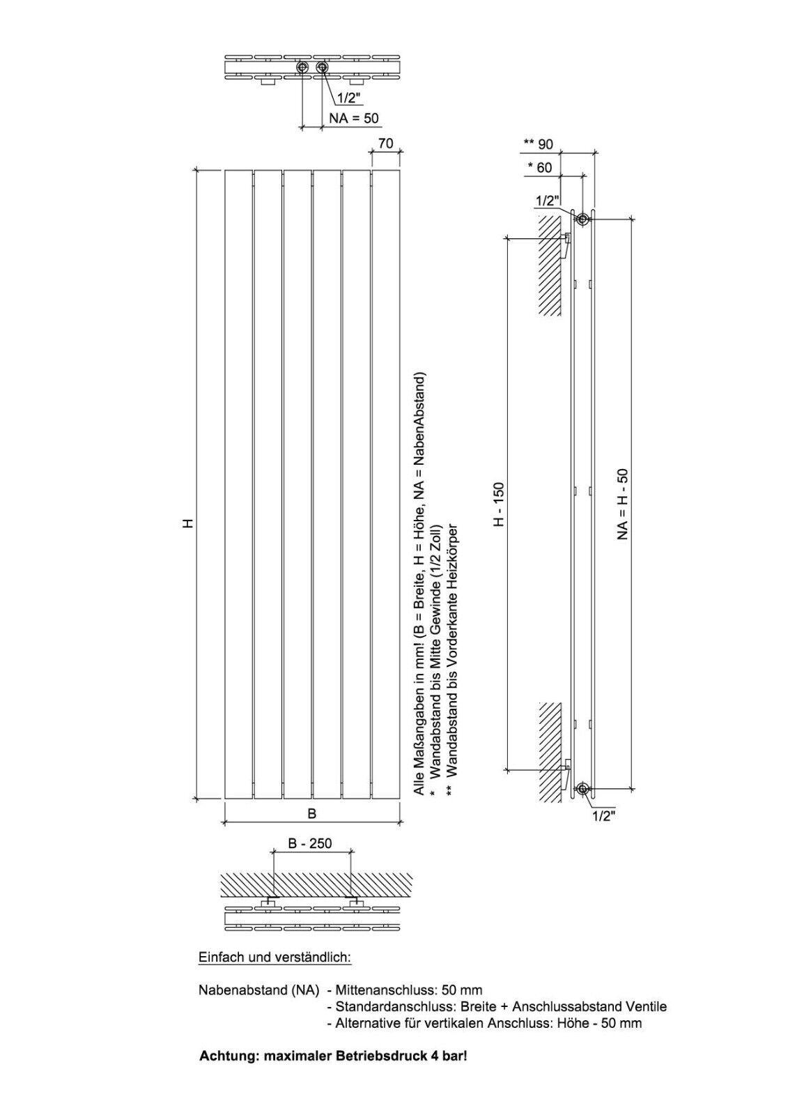 Ximax Design-Heizkörper Raum-Heizkörper P1 Duplex 1218W Mittenanschluss Mittenanschluss Mittenanschluss 0a3271