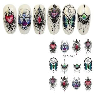 Nail-Art-Water-Decals-Stickers-Transfers-Flowers-Jewels-Gems-Butterfly-620