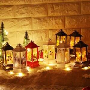 Christmas-Snowman-Santa-Claus-Castle-Fairy-Hanging-Lantern-Lamp-Light-Ornament
