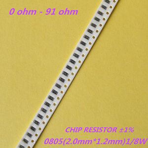 0Ω to 10MΩ 100PCS 0805 SMD//SMT Chip Resistors 1//8W ±5/% Range