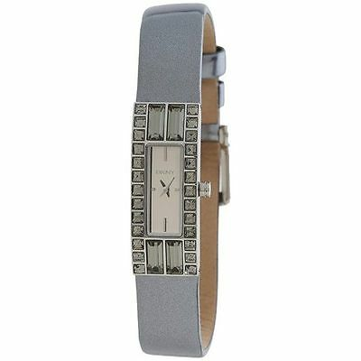 DKNY Donna Karan Women's Silver Metallic Leather Strap Watch NY2126 NWT