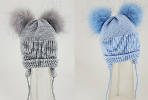 Baby Boys Girls Spanish Style Faux Fur Pom Pom Knitted Hat Grey or Blue 0-18 Mth