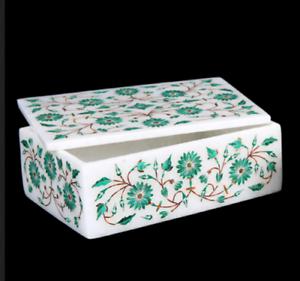 Marble Box Semi Precious Stones fine Inlay handicraft art Work home decor