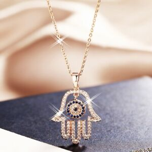 18K-Rose-Gold-Filled-Simulated-Diamond-Unique-Exquisite-Round-Hand-Necklace