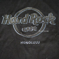 Hard Rock Cafe Honolulu Hawaii Black T-shirt Tee Raised Logo Men's Sz S-3x